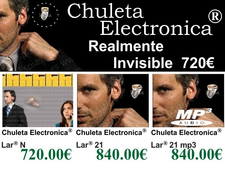 Chuletas Electronicas, Pinganillo Mir 21, Lar 21 para examenes